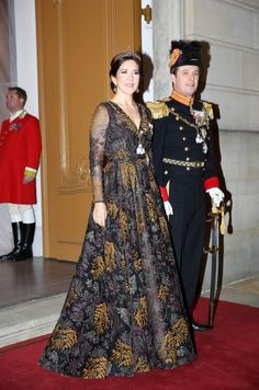 Crown Princess Mary and Crown Prince Frederik of Denmark arrive at the Traditional New Year's Banquet hosted by the Danish Queen at Christian VII's Palace, Amalienborg on January 2019 in Copenhagen, Denmark.