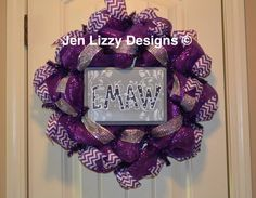 EMAW Kansas State University Wildcats deco mesh wreath. www.facebook.com/jenlizzydesigns Jen Lizzy Designs