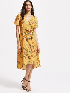 c40598638c2 Shop Yellow Floral V Neck Dress With Self Tie online. SheIn offers Yellow  Floral V Neck Dress With Self Tie   more to fit your fashionable needs.