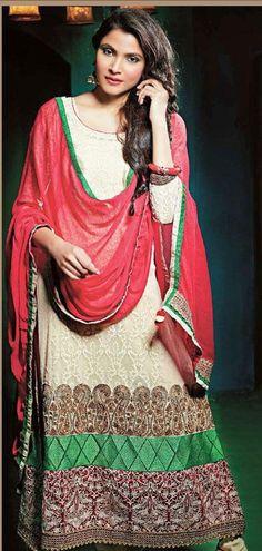 $116.16 Off White Embroidery Jacquard Pakistani Salwar Suit 24368