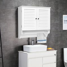 Bathroom Wall Cabinet with Towel Bar and Shelf Storage Rack $49.95 + Free Shipping The bathroom wall cabinet is especially designed to avoid messy bathroom.