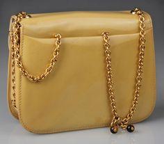 1stdibs.com   Custom Gucci Patent Leather Handbag / Clutch with Tigers Eye