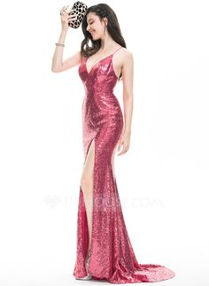 Sheath/Column V-neck Sweep Train Split Front Zipper Up Crossed Straps Spaghetti Straps Sleeveless No Other Colors Winter Spring Summer Fall General Plus Sequined Hight:5.7ft Bust:32in Waist:24in Hips:35in US 2 / UK 6 / EU 32 Evening Dress