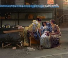 Russian  artist takes figures from classical paintings  and photo shops  them into the mundane.