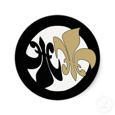 Black Gold Yin Yang Fleur de Lis: Add some balance to your projects and correspondence with these black and gold Fleur de lis Yin Yang stickers! Who dat!