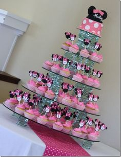 Minnie Party for Addiebug's 2nd bday @Abigail Milnes..cute way to display