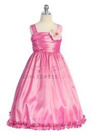 Fuchsia Sleeveless Taffeta Flower Girl Dress