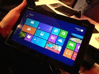 Lenovo's Windows 8 tablet will be a full-fledged professional tablet running off an Atom processor, and will be available at Windows 8 launch. Is this a hint at Surface competition to come? via @CNET