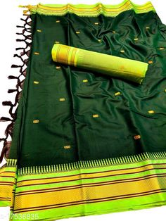 Sarees Hirkal Traditional Paithani Silk Sarees With Contrast Blouse Piece (Bottle Green & Neon)  Saree Fabric: Silk Blend Blouse: Separate Blouse Piece Blouse Fabric: Silk Blend Pattern: Woven Design Blouse Pattern: Woven Design Multipack: Single Sizes:  Free Size (Saree Length Size: 5.3 m, Blouse Length Size: 0.8 m)  Country of Origin: India Sizes Available: Free Size   Catalog Rating: ★4 (462)  Catalog Name: Aakarsha Fashionable Sarees CatalogID_2303917 C74-SC1004 Code: 146-17536835-7761