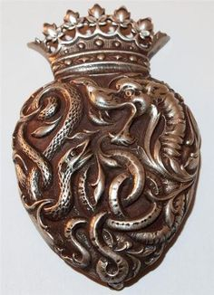 STERLING SILVER REPOUSSE DRAGON SERPENT ROYAL CROWN BROOCH