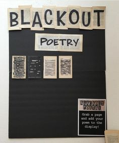Blackout Poetry Library Display at Oregon City Public Library In honor of Library Week, here are 13 awesome library displays. School Library Displays, Middle School Libraries, Elementary Library, Public Libraries, School Display Boards, Classroom Display Boards, School Library Decor, School Library Lessons, Library Decorations