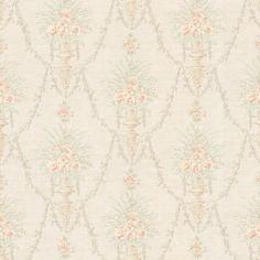 Katharina Peach Floral Urn - Wallpaper