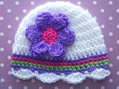 Baby Girl Hat Crochet,  Newborn Baby Girl Hat, Infant Crochet Hat, Children Hats, Purple, White, Gift via Etsy