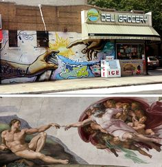"""Bronx graffiti version of Michelangelo's """"The Creation of Adam"""" from the Sistine Chapel"""