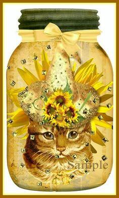 altered mason jars   Sunflower Sunshine Mason Jar Collage Diecuts for Tags, Cards, Crafts