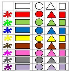 Δραστηριότητες, παιδαγωγικό και εποπτικό υλικό για το Νηπιαγωγείο: Πίνακας Διπλής Εισόδου και Πίνακας Αναφοράς - Σχήματα και χρώματα
