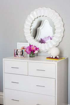 Project Nursery - White mirror and Dresser in girl's room