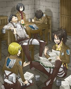 Attack on Titan ~~ Armin and Hanji would talk for HOURS. No wonder Levi, Mikasa, and Eren are so bored!