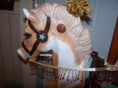 """Most of us have or have had a """"Hobby Horse"""".you know, the kind mounted on springs and you rode like the wind and bucked around on like a rodeo star. If you still have yours or the one your child rode, you are ready to go. Play Horse, Carosel Horse, Carousel Party, Carrousel, Acrylic Pouring Art, Hobby Horse, All The Pretty Horses, Animal Paintings, Diy Painting"""