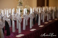 New Year's Eve wedding, silver and black horns for place cards | AnnaBelle Events