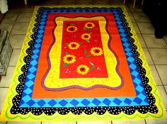 FLOORCLOTH    Hand Painted Canvas Rug  5'x7' by countryfloorcloths, $250.00.  What a fun floor cloth!