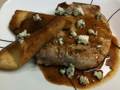 Sauteed Pork Chops w/ Pears and Blue Cheese in a Balsamic Pan Sauce. A great picture of a great night. I got exactly the kind of caramelization I wanted on the pears and the pork chop. Then I threw some blue cheese on top!? Gaaahhh, satisfying like a 4 star restaurant.