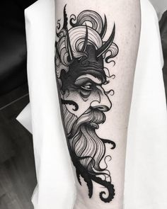 By To submit your work use the tag Face Tattoos, Body Art Tattoos, New Tattoos, Sleeve Tattoos, Tattoos For Guys, Cool Tattoos, Tatoos, Posseidon Tattoo, Arm Band Tattoo
