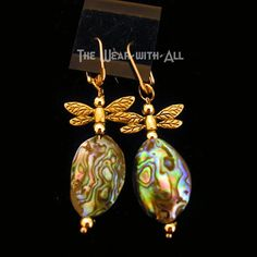 Large Oval Abalone & Dragonfly Earrings