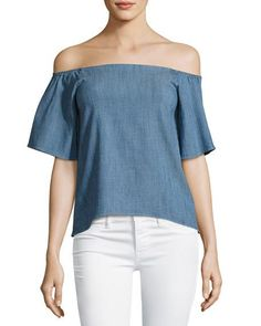 Christy Off-the-Shoulder Chambray Shirt, Blue