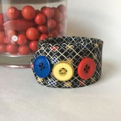 Plaid Fabric Bracelet Button Jewelry Primary by EntirelyChic
