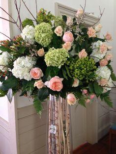 Fabulous Green and Peach Altar Flower Arrangement