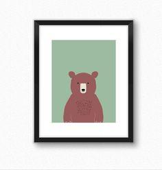 Forest print bear art animal print nurser by ModernKidsGallery