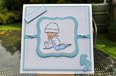 Inky Fingers: New baby card made with a cute stamp from Lily of the Valley