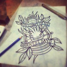 you light up my darkest days  lantern tattoo sketch