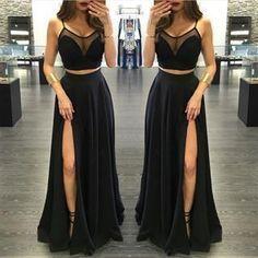 Black Chiffon Prom Dress,Sexy Slit Front Prom Dress,Long Evening Dress,Evening…