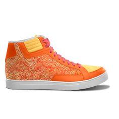 Orange and red swirls zentangle - Unisex Streetwear Sneakers Shoes by @savousepate on @IDXcustom