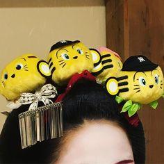 Never seen kanzashi like this before. Hanshin tigers mascot maiko kanzashi. Who's this maiko?
