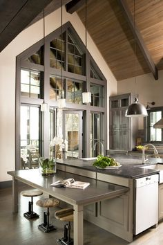 Love the high ceilings rustic industrial yet modern vibe