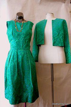 Vintage Emerald Green Cocktail Dress n Jacket /2pc Brocade
