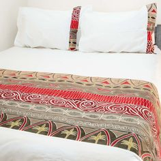 Duvet Covers ~ Artisans' Gallery Designs Double $240.00 USD Duvet cover and pillowcases in 100% cotton material, inlaid with beautiful hand-painted fabric strip in Tribal Textiles' flagship Artisan's Gallery design, featuring a modern red and grey colourway. #TribalArtisansGallery #TribalTextiles