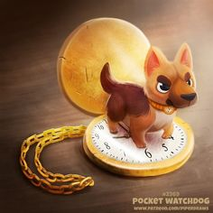 Daily Paint Pocket Watchdog by Cryptid-Creations on DeviantArt Cute Food Drawings, Cute Animal Drawings Kawaii, Kawaii Drawings, Cute Fantasy Creatures, Cute Creatures, Mythical Creatures, Animal Puns, Animal Sketches, Cute Bears