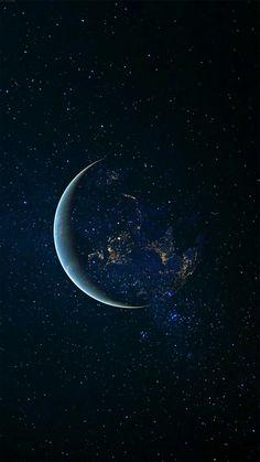 Moon And Stars Wallpaper, Wallpaper Earth, Night Sky Wallpaper, Planets Wallpaper, Star Wallpaper, Wallpaper Iphone Cute, Galaxy Wallpaper, Black Wallpaper, Lock Screen Wallpaper