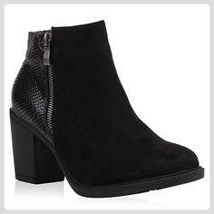 Klassische Damen Stiefeletten Leder-Optik Boots Block Absatz Schuhe 107597 Schwarz Kroko 39 Flandell pWtEnRCFw6