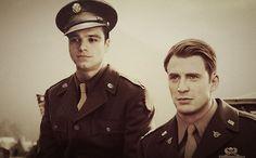 Sebastian Stan as Bucky Barnes and Chris Evans as Steve Rogers