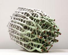 David Hicks: system - green and white glazed ceramic 30 x 25 x 21