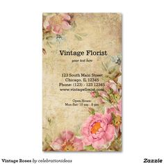 Sold #Vintage #Roses #BusinessCard #flowers #floral Available in different products. Check more at www.zazzle.com/celebrationideas