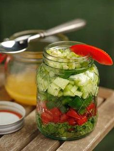 Recipe for Gazpacho Salad in a Jar - A crisp salad with the fresh flavors of chilled gazpacho is a perfect starter for any meal.
