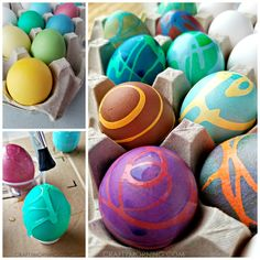 My new favorite way to decorate Easter eggs is now with rubber cement! It makes awesome designs and it's so fun watching them in the new color. Here's a tutorial video I made… Supplies Needed: Rubber cement Food coloring Vinegar/Water Bottle caps/rolled up paper Cups Spoons Start by dying white blown out eggs or hard …