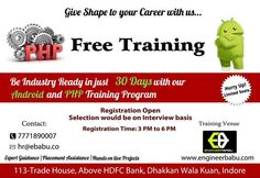 Don't tell there is no jobs in Indore. If you deserve come for Interview.  FREE Training (No Theory ) .  We select only top 10 candidates for this..