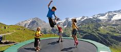 Fuerenalp_Engelberg_Spielplatz_ more than just tramp. restaurant with sun terrace. hiking valley might be possible with stroller. Engelberg, Playgrounds, Mount Everest, Terrace, Hiking, Restaurant, Sun, Mountains, Nature